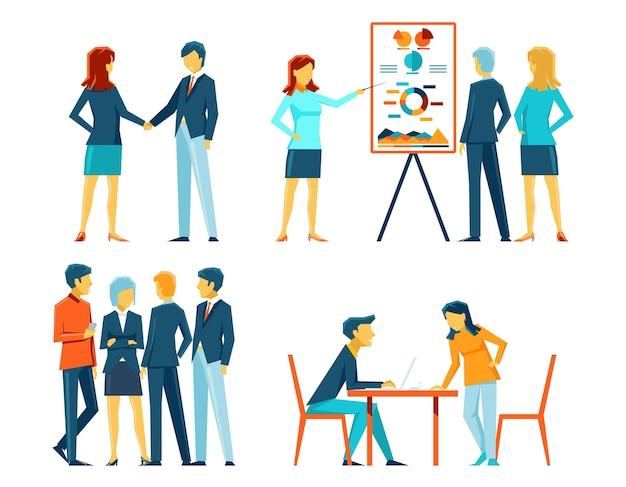 다른 포즈의 사업 사람들. 사무실 사람, 관리자 및 사업가, 작업 표시 및 회의 무료 벡터