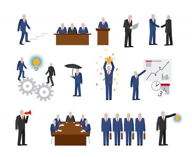 フラットスタイルのビジネス人々 Premiumベクター