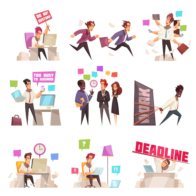 Business people isolated set of too busy and hurrying to work office workers flat vector illustration Free Vector