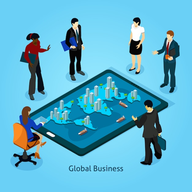 Business people isometric composition icons set Free Vector