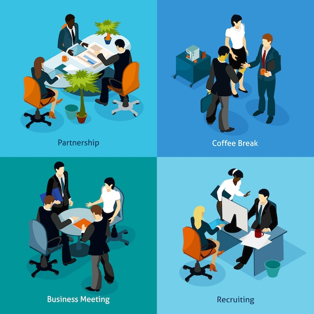 Business people isometric icon set Free Vector