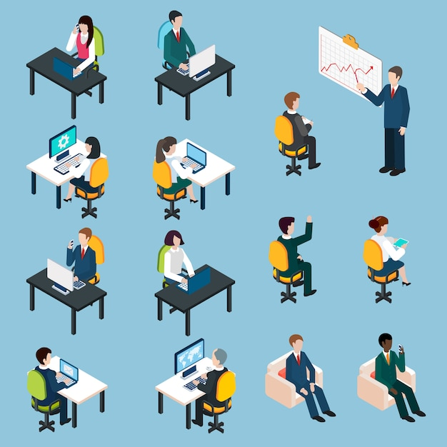 Business people isometric pictograms\ collection