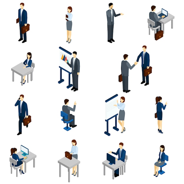 Business people isometric set Free Vector