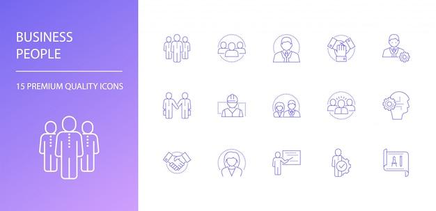 Business people line icons set. Premium Vector