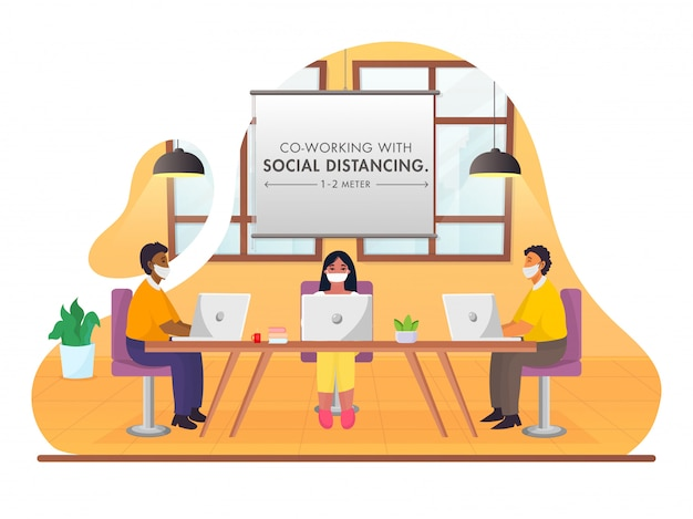 Business people maintaining social distance during work together at workplace on abstract background for avoid coronavirus . Premium Vector