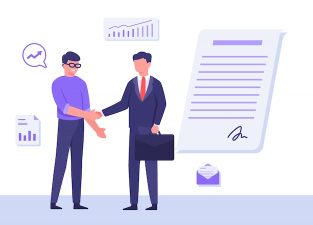 Business people man wear glasses suit carry suitcase shake hand background graphic signature on agreement letter with flat cartoon style. Premium Vector
