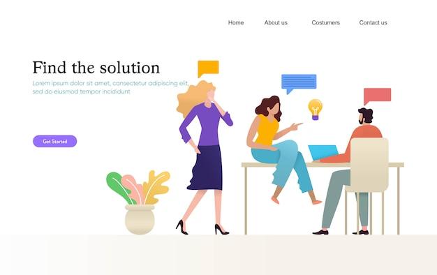 Деловые люди, встреча дизайн иллюстрация, группа молодых людей, имеющих разговор на коворкинг, Premium векторы