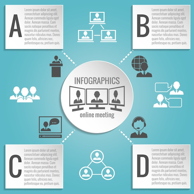Business people meeting infographics template Free Vector