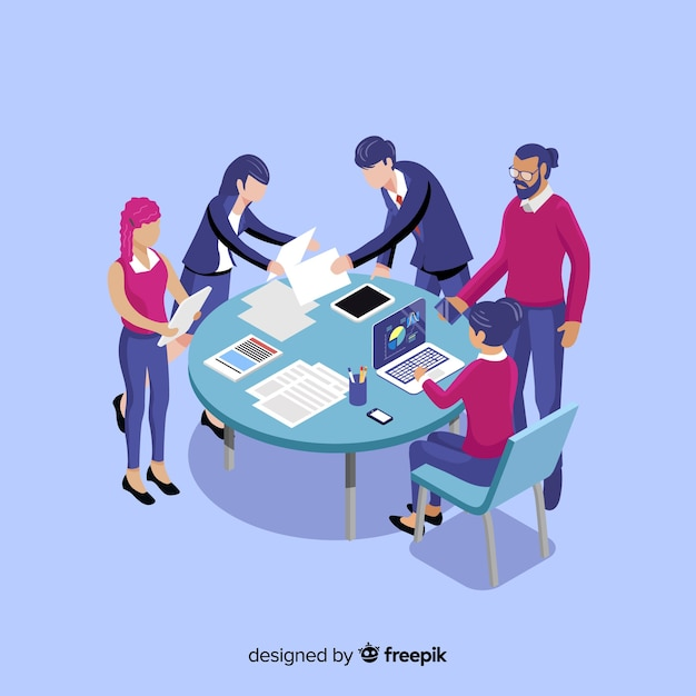 Business people in a meeting isometric Free Vector