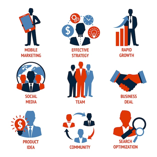 Business people meeting managements icons set\ of mobile marketing effective strategy rapid growth isolated vector\ illustration