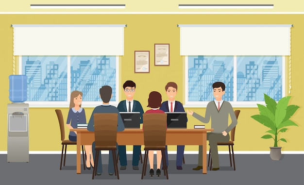 Business people meeting in office. working team staff teamwork on conference. Premium Vector