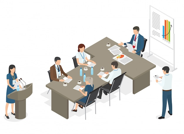 Business people on meeting at office Premium Vector