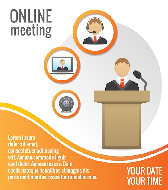 Business people meeting poster template Free Vector