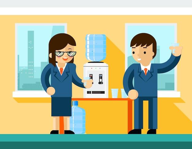 Uomini d'affari vicino al refrigeratore d'acqua. progettazione dell'ufficio, bottiglia e uomo d'affari della persona Vettore gratuito