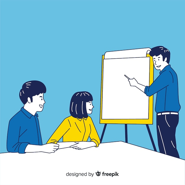 Business people at the office in korean drawing style Free Vector