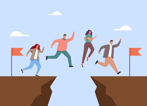 ビジネスマンのサラリーマンのキャラクターがギャップを飛び越えています。チームワークの概念。 Premiumベクター