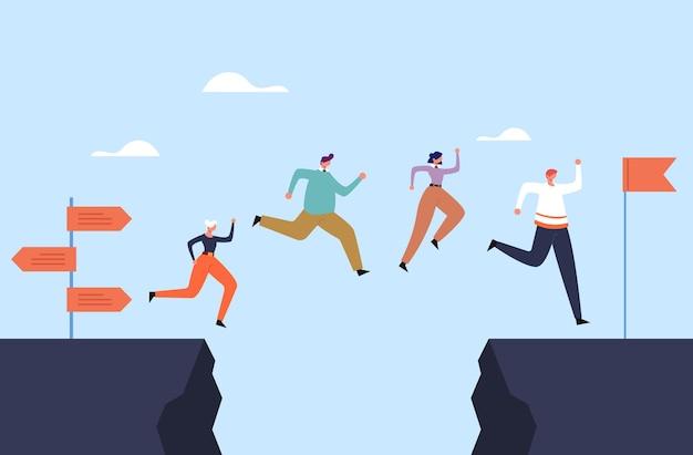 ビジネスマンのオフィスワーカーチームは、ロックの概念を飛び越えます。 Premiumベクター