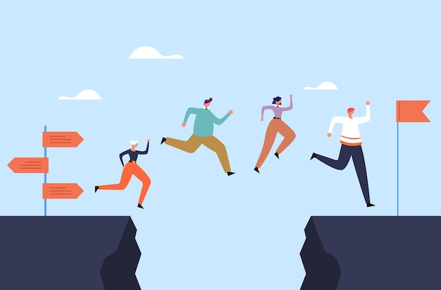 Business people office workers team jump over rock concept. Premium Vector