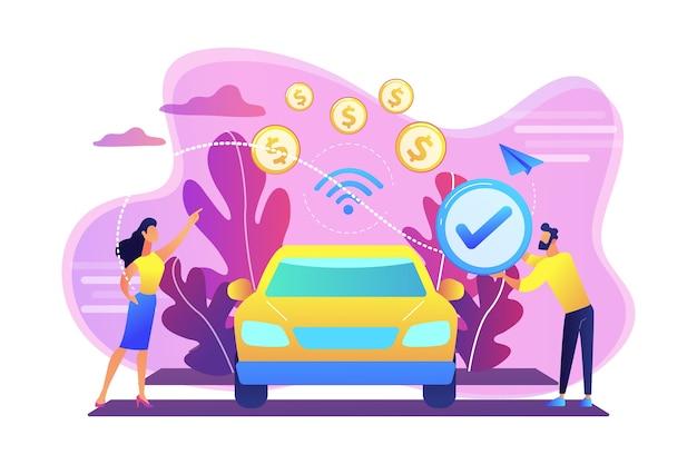 Деловые люди расплачиваются в автомобиле, оборудованном системой оплаты в автомобиле. в транспортных платежах, технология оплаты в автомобиле, концепция современных розничных услуг. яркие яркие фиолетовые изолированные иллюстрации Бесплатные векторы