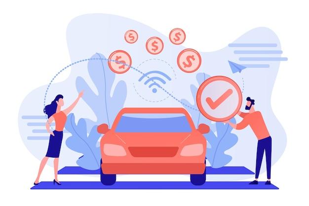 Деловые люди расплачиваются в автомобиле, оборудованном системой оплаты в автомобиле. в автомобильных платежах, технология оплаты в автомобиле, концепция современных розничных услуг Бесплатные векторы