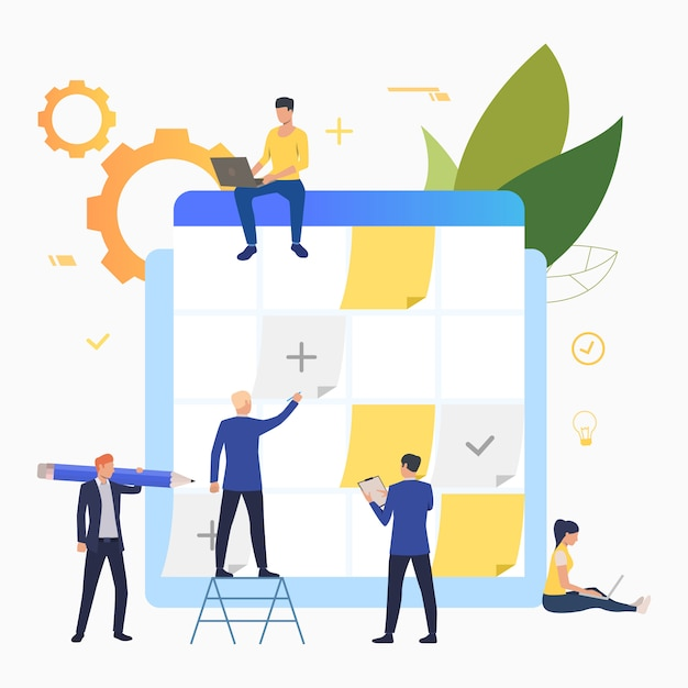 Business people planning and working with task board Free Vector