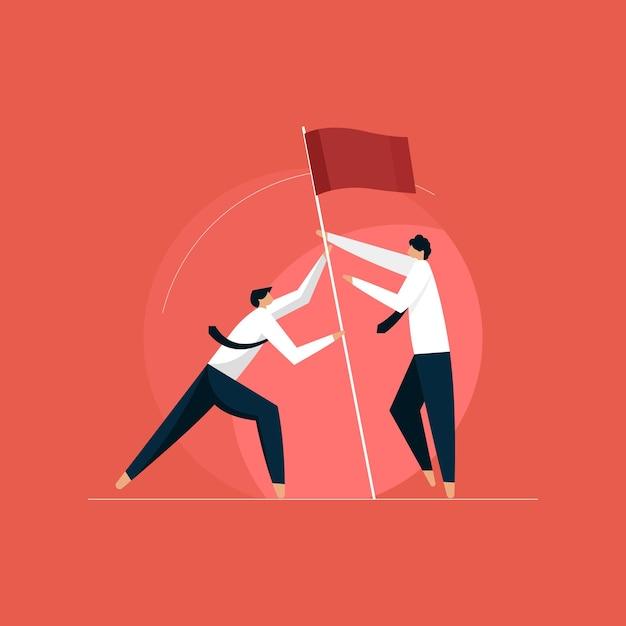 Деловые люди вместе поднимают флаг, достижение цели Premium векторы
