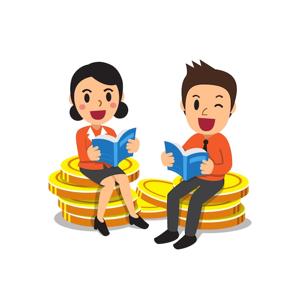 Business people reading books on big money coins stack Premium Vector