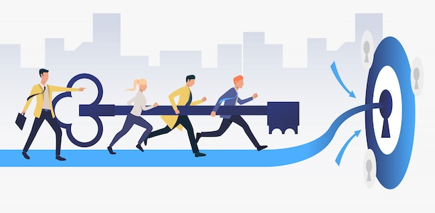 Business people running and carrying key to unlock keyhole Free Vector