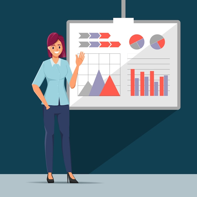 Business people seminar with professional and office teamwork business meeting. Premium Vector