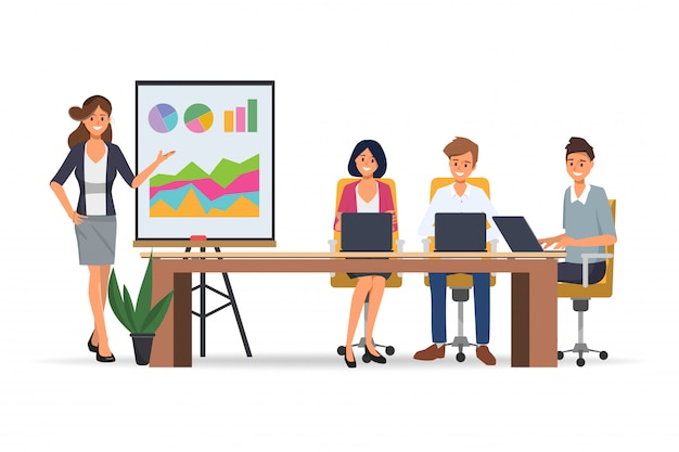 Business people seminar with professional presenting and office teamwork business meeting. Premium Vector