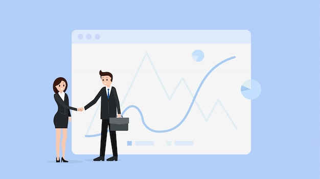 Business people shaking hands Premium Vector