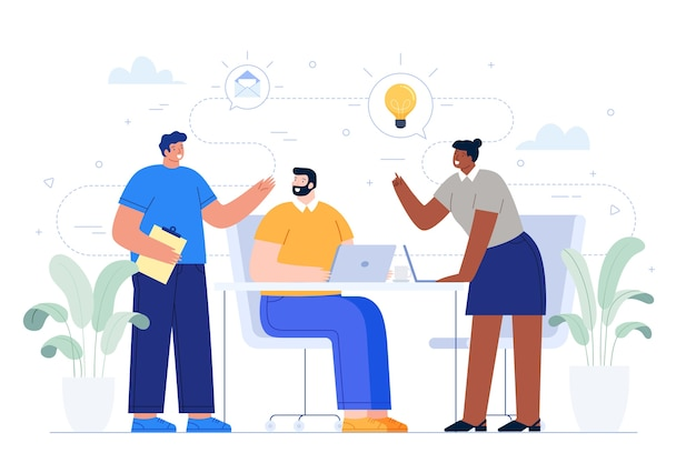 Business people sharing ideas Free Vector