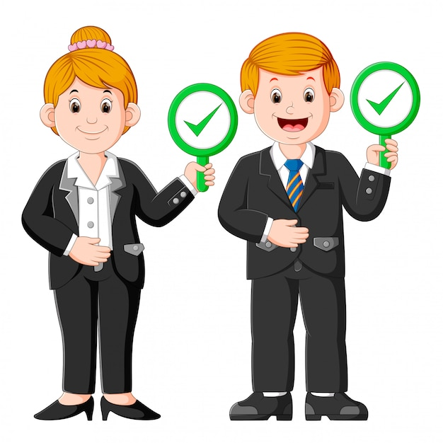Business people showing approval sign placards Premium Vector