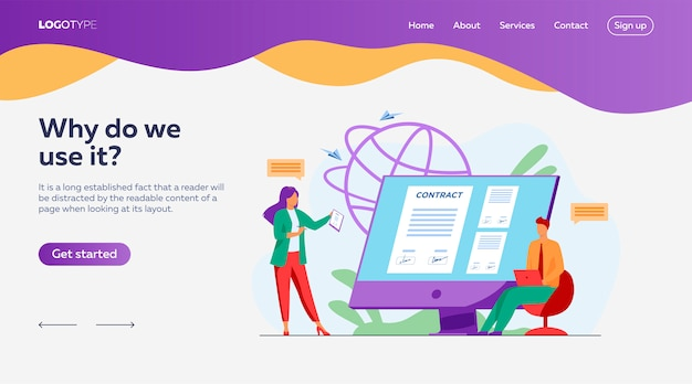Business people signing online contract with electronic sign landing page template Free Vector