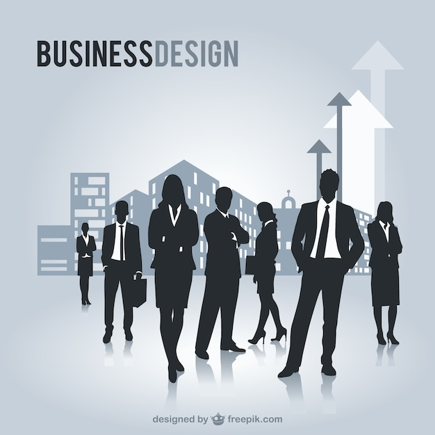 Business people silhouettes in a modern city Free Vector
