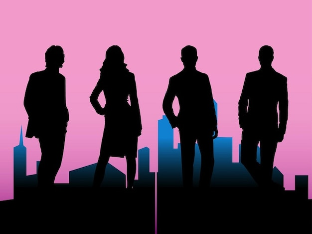 Business people silhouettes with\ cityscape