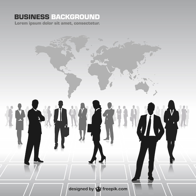 Business people silhouettes world map vector free download business people silhouettes world map free vector gumiabroncs Images