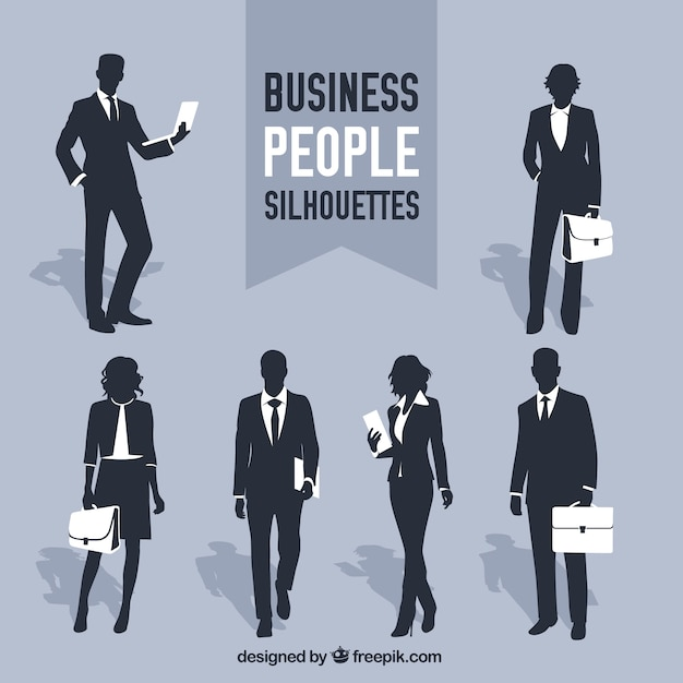 Business people silhouettes Premium Vector