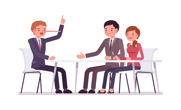 Business people sitting at the desk, man is a liar Premium Vector