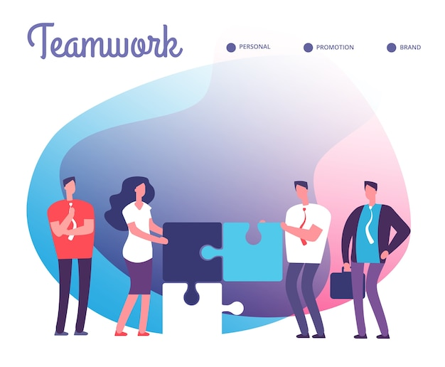 Business people solve puzzle. development, easy solution and teamwork concept with employee characters and puzzle pieces. Premium Vector