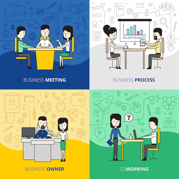 Business people  square concept Free Vector