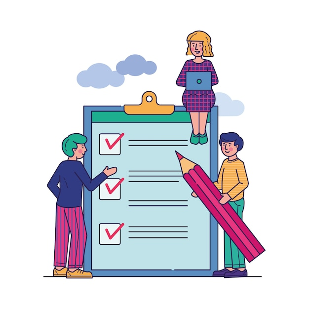 Business people stand at clipboard with checklist Free Vector