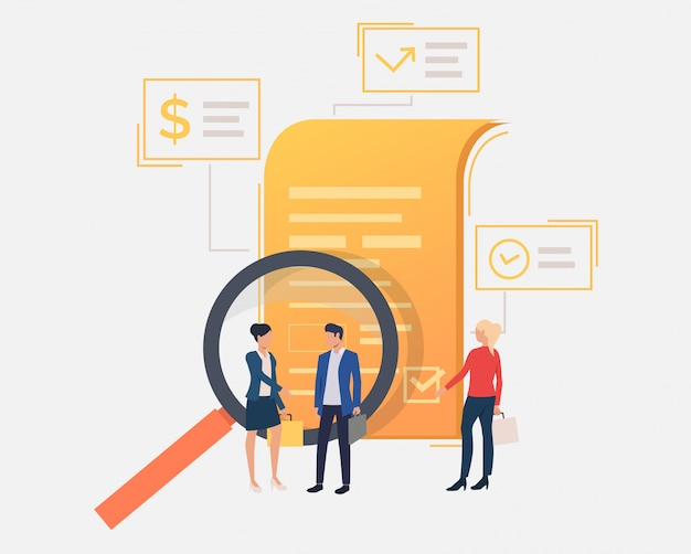 Business people standing at document Free Vector