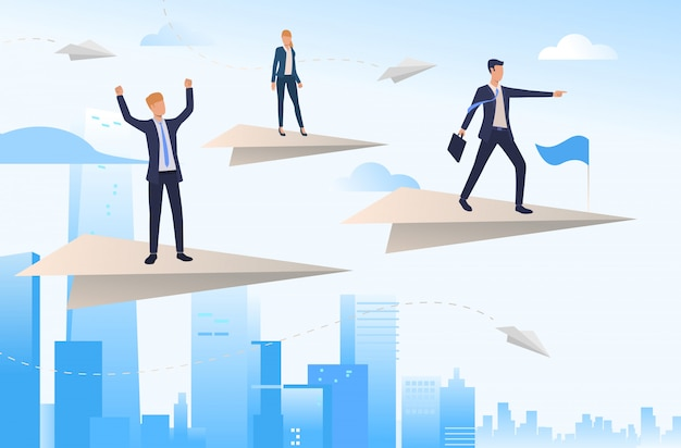 Business people standing on paper planes Free Vector