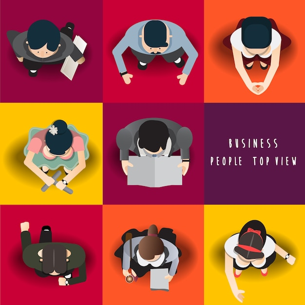 Business people standing top view set ,vector illustration Premium Vector