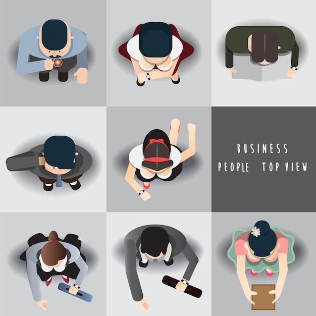 Business people standing top view set ,vector illustration Premium Vector