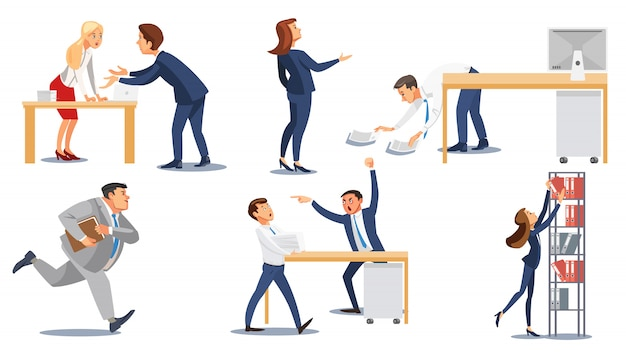 Business people in stress at work flat vector set Premium Vector
