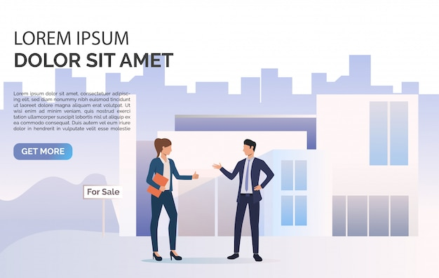 Business people talking, building and sample text Free Vector