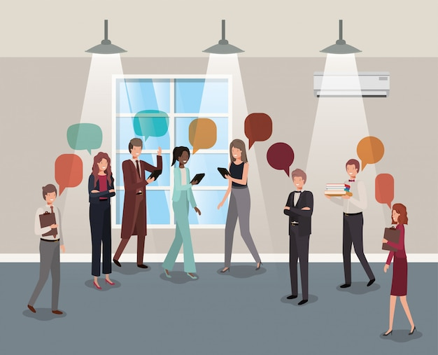 Business people talking in corridor office Premium Vector