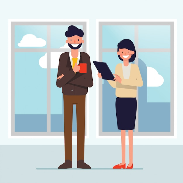 Business people talking in office building. Premium Vector